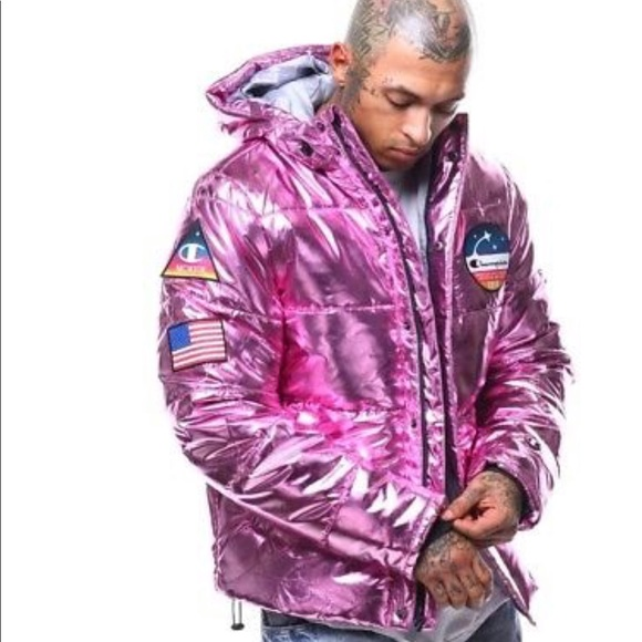 986117b63 Champion Metallic Pink NASA Puffer Jacket NWT
